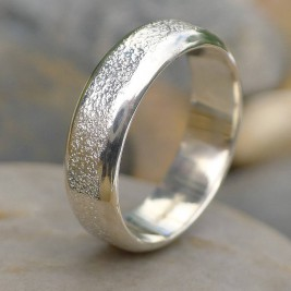 Mens Silver Ring With Concrete Texture