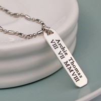 Mens Personalised Silver Vertical Bar Necklace