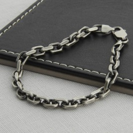 Mens Sterling Silver Anchor Chain Style Necklace