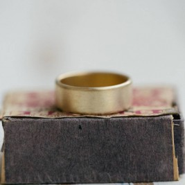 Mens Wide Brushed Pillow Wedding Ring 18ct Gold