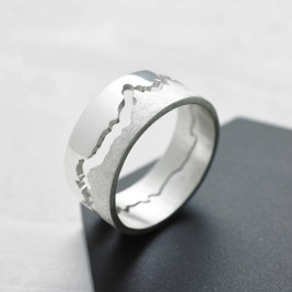 Mens Coastline Map Ring