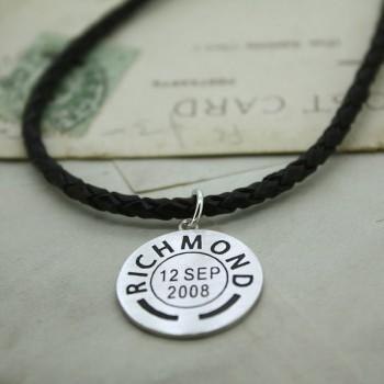 Mens Personalised Place And Date Pendant