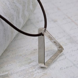 Mens Secret Message Silver Triangle Necklace