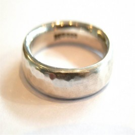 Mens Silver Hammered Ring