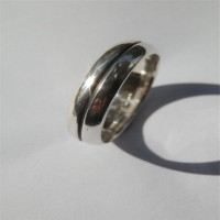 Mens Silver Oxidized Band Ring