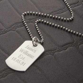 Personalised Brushed Sterling Silver Dog Tag Necklace