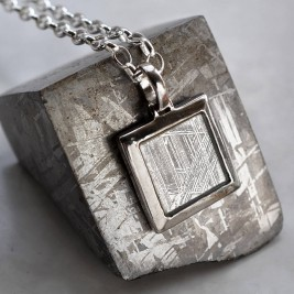 Meteorite And Silver Square Necklace