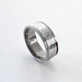 Meteorite Inlaid Titanium Ring