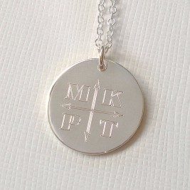 Engraved Monogram Arrows Necklace