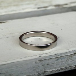 18ct White Gold Flat Wedding Band