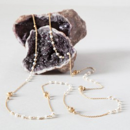 Pearls And Gold Beads Long Layering Chain Necklace