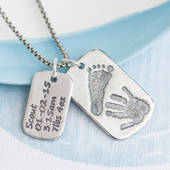 Dog Tag With Baby Prints And Birth Info Necklace - Two Pendants