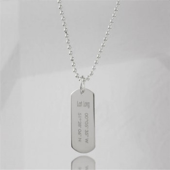 Personalised Coordinates Dog Tag Necklace