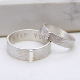Personalised Contemporary His And Hers Rings