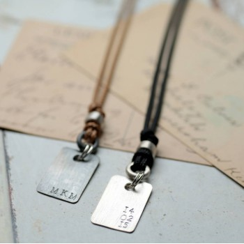 Personalised Corded Dog Tag Necklace