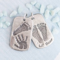 Personalised Handprint Footprint Dog Tag