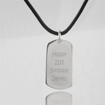 Personalised Message Dog Tag Necklace