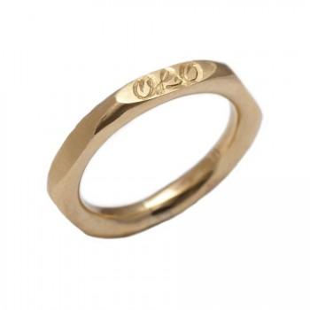 Personalised Hexagonal 18ct Gold Ring