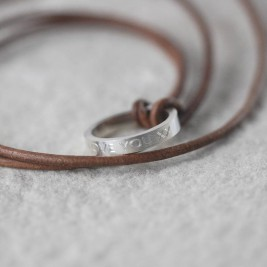 Personalised Leather Ring Necklace