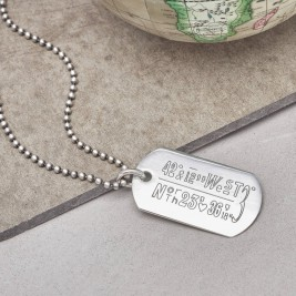 Personalised Location Coordinates Silver Necklace