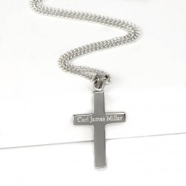 Personalised Mens Silver Cross Pendant