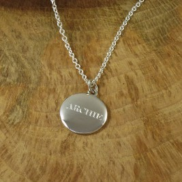 Personalised Mens Silver Pebble Necklace