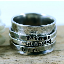 Personalised Mens Sterling Silver Spinner Ring