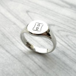 Personalised Round Initial Silver Signet Ring