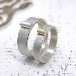 Personalised Silver And Gold His And Hers Rings