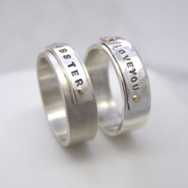 Personalised Silver And Gold Rivet Rings
