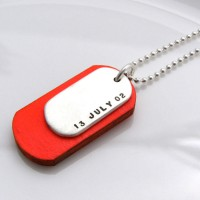 Personalised Silver And Wood Dog Tags
