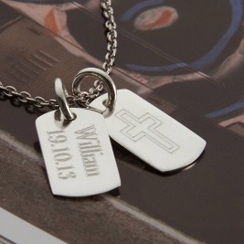 Personalised Sterling Silver Double Dog Tag Necklace