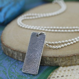 Personalised Silver Ink Fingerprint Necklace