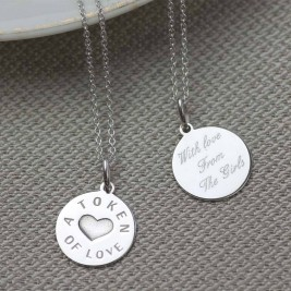 Personalised Silver And Gold Love Token Pendant