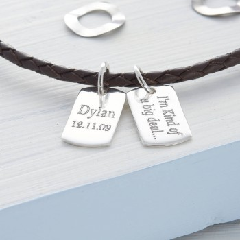 Personalised Silver Mini Dog Tag Leather Necklace