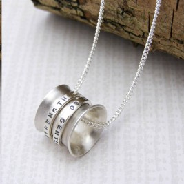 Personalised Silver Spinner Pendant