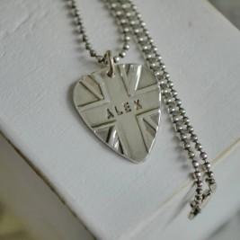 Personalised Silver Union Jack Plectrum