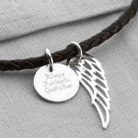 Personalised Silver Wing And Disc Leather Necklet