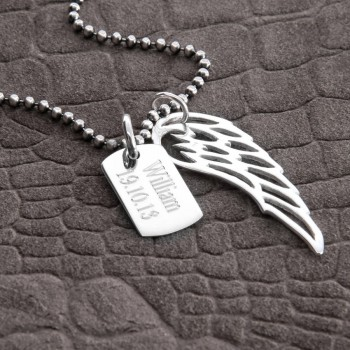 Personalised Sterling Silver Wing And Dogtag Pendant