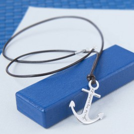 Mens Personalised Sterling Silver Anchor Necklace