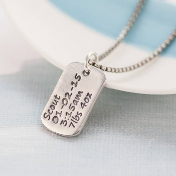 Personalised Dog Tag Necklace With Baby Birth Info