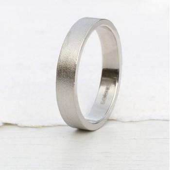 18ct White Gold Wedding Ring With Spun Silk Finish