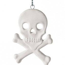 Memorabilia Porcelain Skull And Crossbones Charm