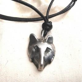Solid Silver Fox Head Necklace