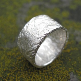 Sterling Silver Rocky Outcrop Broad Ring