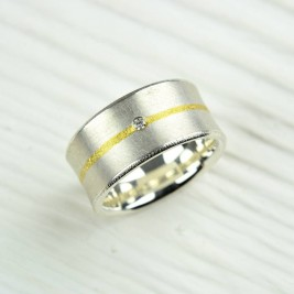 Silver And Fused Gold Diamond Ring