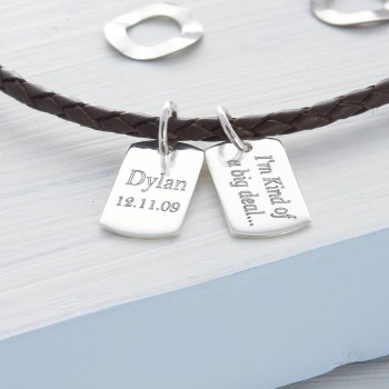 Personalised Silver And Leather Double Dog Tag Necklet