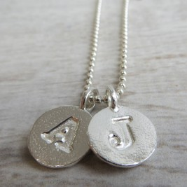 Silver Letter Charm And Ball Chain Necklace