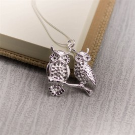 Silver Perched Owls Pendant