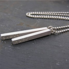 Silver Personalised Satin Mens Necklace